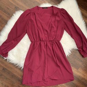 Honey Punch Mini Dress Pink Faux Wrap